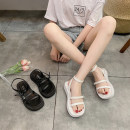Sandals 35,36,37,38,39,40 Black, white PU Sonlarfu / soranfu Barefoot Muffin bottom Middle heel (3-5cm) Summer 2021 Flat buckle girl Solid color Adhesive shoes Youth (18-40 years old), general rubber daily Ankle strap Cross strap, buckle, metal trim, ankle strap, buckle, Roman style Low Gang Hollow