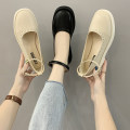 Low top shoes 35,36,37,38,39 Sonlarfu / soranfu Glossboard beige, glossboard black, Bow Black, bow Beige Round head PU Thick heel Middle heel (3-5cm) Shallow mouth PU Spring 2021 Flat buckle solar system Adhesive shoes Youth (18-40 years old), student Solid color rubber Single shoes PU daily