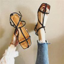 Sandals 35 36 37 38 39 White black Sonlarfu / soranfu PU Barefoot Flat bottom Flat heel (1cm or less) Summer of 2018 Flat buckle Korean version rubber