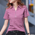 T-shirt Purple, white, black, grayish blue S,M,L,XL,2XL,3XL Summer 2020 Short sleeve Polo collar easy Regular routine commute cotton 96% and above Korean version originality Solid color A717 Button