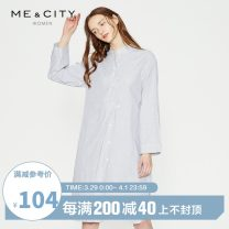 Dress Spring of 2018 Grey Stripe on white background 155/80A,160/84A,165/88A,170/92A longuette singleton  Long sleeves commute Crew neck middle-waisted stripe Single breasted other routine Others 25-29 years old Me&City cotton
