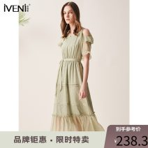 Dress Summer 2020 green 155/S 160/M 165/L 170/XL Mid length dress singleton  Short sleeve commute High waist Socket Big swing Petal sleeve 30-34 years old Type H Iveni Korean version Lace up with ruffles More than 95% polyester fiber Polyester 100% Exclusive payment of tmall