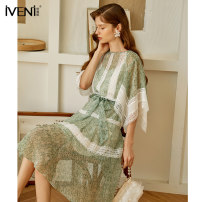 Dress Summer 2021 Ice green 155/S 160/M 165/L Mid length dress Two piece set Short sleeve commute Crew neck High waist Decor Socket Big swing Lotus leaf sleeve Others 25-29 years old Type H Iveni Korean version Lace with ruffles 21DXQ130 More than 95% polyester fiber