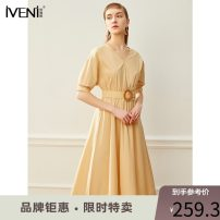 Dress Summer 2020 155/S 160/M 165/L 170/XL Mid length dress singleton  Short sleeve commute V-neck High waist Solid color Socket Big swing routine Others 30-34 years old Type H Iveni Korean version More than 95% cotton Cotton 100% Exclusive payment of tmall