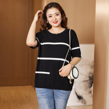 Women's large Spring 2021 Black and white XL (recommended weight 130-145 kg) 2XL (recommended weight 145-175 kg) 3XL (recommended weight 175-200 kg) T-shirt singleton  commute easy moderate Socket Short sleeve Crew neck routine Three dimensional cutting routine GY21J2TZR5539 Yizishang 30-34 years old