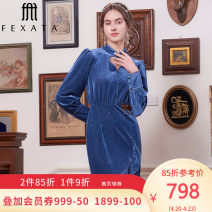 Dress Spring 2021 Starry blue S M L Mid length dress Long sleeves Crew neck Others 25-29 years old Type A FEXATA F211LQ24/12B-6 91% (inclusive) - 95% (inclusive) polyester fiber Polyester fiber 91% polyurethane elastic fiber (spandex) 9% Same model in shopping mall (sold online and offline)