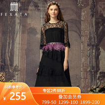 Dress Autumn of 2018 XS S M L Mid length dress singleton  elbow sleeve commute Crew neck High waist Solid color Socket Irregular skirt routine Others 25-29 years old FEXATA Britain More than 95% nylon Polyamide fiber (nylon) 100%