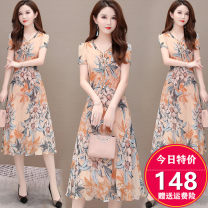 Dress Spring 2020 Yellow flower 50. XL, 2XL, 3XL, 4XL, 5XL, 20% discount for single coupon, shopping cart + collection + pay attention to store, enjoy priority delivery singleton  Short sleeve commute V-neck High waist Decor Socket A-line skirt routine Others 35-39 years old Type A Korean version