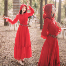 Dress Spring 2021 S,M,L,XL longuette singleton  Long sleeves Hood Big swing Others Chiffon