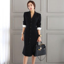 Dress Autumn of 2018 black S,M,L,XL Mid length dress singleton  Long sleeves commute tailored collar High waist Solid color Single breasted One pace skirt routine Others 25-29 years old Type H Korean version Button 51% (inclusive) - 70% (inclusive) brocade cotton
