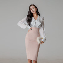 Dress Spring 2021 white S,M,L,XL Middle-skirt Two piece set Long sleeves commute Polo collar High waist Solid color zipper One pace skirt Others 25-29 years old Type H Korean version Bowknot, stitching, button, zipper 71% (inclusive) - 80% (inclusive) brocade polyester fiber