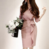 Dress Autumn of 2018 Rubber powder S,M,L,XL Middle-skirt singleton  three quarter sleeve commute Crew neck High waist Solid color zipper Pencil skirt routine Others 25-29 years old Type X Korean version Pleats, folds, zippers 71% (inclusive) - 80% (inclusive) brocade