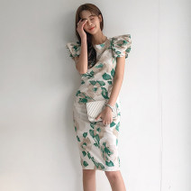 Dress Summer 2020 green S,M,L,XL Middle-skirt singleton  Short sleeve commute Crew neck middle-waisted Decor zipper One pace skirt Flying sleeve Others 25-29 years old Type H Korean version Print, zipper 71% (inclusive) - 80% (inclusive) brocade polyester fiber