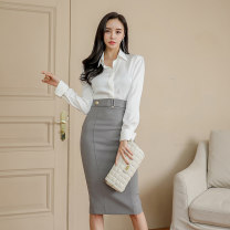 Dress Autumn 2020 white S,M,L,XL Mid length dress singleton  Long sleeves commute Polo collar High waist Solid color Single breasted One pace skirt Others 25-29 years old Type H Korean version Panel, button, zipper 71% (inclusive) - 80% (inclusive) brocade nylon