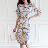Dress Summer 2020 White, blue S,M,L,XL Mid length dress singleton  three quarter sleeve commute Crew neck middle-waisted Decor Socket One pace skirt other Others 25-29 years old Type H Korean version Stitching, zipper, printing 71% (inclusive) - 80% (inclusive) brocade nylon