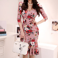 Dress Summer 2020 Decor S,M,L,XL Mid length dress singleton  three quarter sleeve commute V-neck High waist Decor zipper Ruffle Skirt routine Others 25-29 years old Type H Korean version Ruffle, stitching, zipper, print 71% (inclusive) - 80% (inclusive) brocade nylon