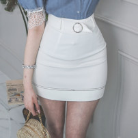 skirt Summer 2020 S,M,L,XL White, blue Short skirt commute High waist skirt Solid color Type X 25-29 years old 71% (inclusive) - 80% (inclusive) brocade nylon zipper Korean version 161g / m ^ 2 (including) - 180g / m ^ 2 (including)