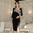 Dress Winter of 2019 black S,M,L,XL Mid length dress singleton  Long sleeves commute square neck High waist Solid color zipper One pace skirt 25-29 years old Type H Korean version Panel, zipper 71% (inclusive) - 80% (inclusive) brocade nylon