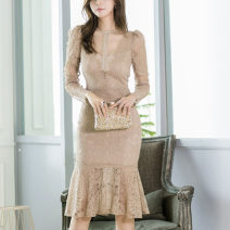 Dress Spring 2021 Nude color S,M,L,XL Mid length dress singleton  Long sleeves commute Crew neck High waist Solid color zipper Ruffle Skirt routine Others 25-29 years old Type H Korean version Ruffles, hollowed out, stitching, zippers, lace 71% (inclusive) - 80% (inclusive) Lace polyester fiber