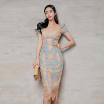 Dress Summer 2021 Picture color S,M,L,XL Middle-skirt singleton  Short sleeve commute V-neck High waist Solid color zipper One pace skirt puff sleeve Others 25-29 years old Type H Korean version Cut out, lace, stitching, zipper 71% (inclusive) - 80% (inclusive) Lace polyester fiber