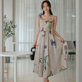 Dress Summer 2020 Decor S,M,L,XL Mid length dress singleton  Sleeveless commute square neck High waist Decor zipper Big swing camisole 25-29 years old Type A Other / other Korean version Open back, stitching, zipper, print 71% (inclusive) - 80% (inclusive) brocade nylon
