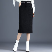 skirt Winter 2020 Average size black Mid length dress Versatile High waist Pleated skirt Solid color Type H 25-29 years old knitting other Wrinkle, random stitching, decoration, stitching