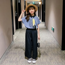 suit Han Beibei 120cm,130cm,140cm,150cm,160cm,170cm female summer Korean version Short sleeve + pants 2 pieces Thin money There are models in the real shooting A button nothing Cartoon animation cotton elder Expression of love Class B Cotton 95% hemp 5%