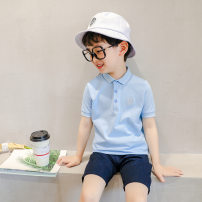 T-shirt Light blue, black, watermelon red, pink, white, yellow, white (bear), black (bear), peach (bear) Other / other 110cm,120cm,130cm,140cm,150cm,160cm neutral summer Short sleeve Lapel and pointed collar Korean version There are models in the real shooting nothing Cartoon animation Cotton 100%