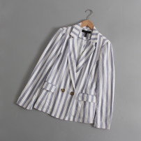 suit Spring 2021 Blue and white stripes S,M,L Long sleeves routine Self cultivation tailored collar double-breasted routine stripe 31% (inclusive) - 50% (inclusive)
