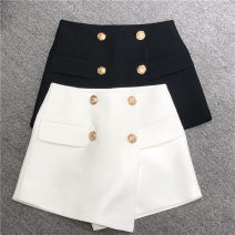 skirt Summer 2021 S,M,L White, black Short skirt commute High waist Irregular Solid color Type A 25-29 years old 1-8850 More than 95% polyester fiber Button