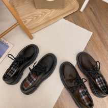 Low top shoes 35,36,37,38,39 Maileshows black , coffee , Black upgrade , Coffee upgrade Round head PU Flat bottom Low heel (1-3cm) Shallow mouth PU Spring 2021 Trochanter Korean version Adhesive shoes Youth (18-40 years old) Solid color rubber Single shoes Shallow mouth PU daily CZX0304