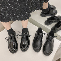 Low top shoes 35,36,37,38,39 Maileshows Glossy black, matte black, glossy black upgrade, matte black upgrade Round head PU Flat bottom Low heel (1-3cm) Shallow mouth PU Spring 2021 Trochanter Korean version Adhesive shoes Youth (18-40 years old) Solid color rubber Single shoes Shallow mouth PU daily