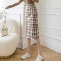 skirt Spring 2021 S,M,L,XL Apricot lattice, coffee lattice, black lattice Mid length dress commute High waist A-line skirt lattice Type A 25-29 years old ZD 51% (inclusive) - 70% (inclusive) other polyester fiber Asymmetry Korean version