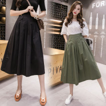 Casual pants Army green, khaki, black, blue Average size Summer of 2019 Cropped Trousers Wide leg pants High waist commute Thin money 18-24 years old 81% (inclusive) - 90% (inclusive) GD other Korean version fold cotton