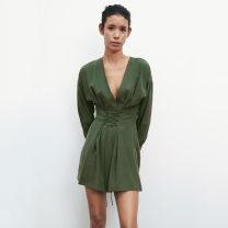 Dress Spring 2021 green XS,S,M,L Short skirt singleton  Long sleeves street V-neck routine XU ZARA UR Europe and America