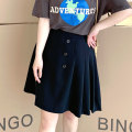 Women's large Summer 2021 black L, XL, 2XL, 3XL, 4XL, 5XL skirt singleton  commute easy moderate Solid color Polyester, cotton Three dimensional cutting 25-29 years old Three dimensional decoration 96% and above