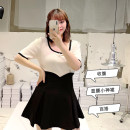 Women's large Summer 2021 black L, XL, 2XL, 3XL, 4XL skirt singleton  commute easy moderate Solid color Korean version other LU3876Q 25-29 years old Three dimensional decoration 96% and above