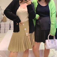 Women's large Summer 2021 Black, Khaki L, XL, 2XL, 3XL, 4XL, 5XL skirt singleton  commute easy moderate Solid color Korean version Button 96% and above Short skirt Pleated skirt