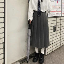 skirt Winter of 2019 S,M,L Black, grey, black second batch, grey second batch Mid length dress commute High waist Pleated skirt Solid color Type A 18-24 years old 81% (inclusive) - 90% (inclusive) other Other / other other Retro