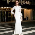 Dress Autumn of 2019 white UK6 / s 100kg, UK8 / m 110kg, UK10 / L 120kg, UK12 / XL 130kg longuette singleton  Long sleeves street Crew neck High waist Solid color zipper One pace skirt routine 30-34 years old Type H Fringes, hollowing, Gouhua, hollowing, splicing, zipper, lace DMZ1238