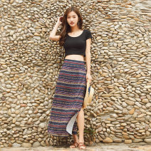 skirt Summer of 2019 M,L,XL Decor longuette commute High waist A-line skirt Decor Type A 71% (inclusive) - 80% (inclusive) other polyester fiber printing ethnic style