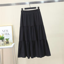 skirt Spring 2021 Average size White, black longuette fresh High waist Ruffle Skirt Solid color Type A 18-24 years old 81% (inclusive) - 90% (inclusive) other Other / other Fold, splice