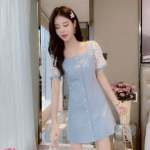 Dress Summer 2020 Picture color S,M,L,XL Short skirt singleton  Short sleeve commute square neck middle-waisted Single breasted A-line skirt puff sleeve Others Type A Korean version 81% (inclusive) - 90% (inclusive)