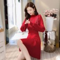 Dress Winter 2020 S,M,L,XL Mid length dress singleton  Long sleeves commute Half high collar High waist Solid color Socket A-line skirt bishop sleeve Others 25-29 years old Type A Korean version other