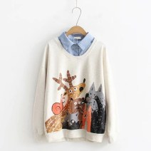 Sweater / sweater Spring of 2018 Average size Long sleeves routine Socket Fake two pieces routine Polo collar easy Sweet routine Cartoon animation 18-24 years old 71% (inclusive) - 80% (inclusive) Other / other printing cotton A button solar system