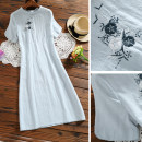 Dress Summer 2020 blue S,M,L,XL Mid length dress Three piece set Short sleeve commute stand collar Loose waist Solid color Socket other other Type A Other / other literature Embroidery