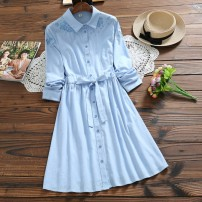 Dress Summer 2020 Blue, pink S,M,L,XL Miniskirt singleton  Long sleeves High waist Solid color Single breasted Type X Other / other cotton