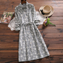 Dress Autumn 2020 grey S,M,L,XL,2XL Mid length dress singleton  Long sleeves commute Polo collar Elastic waist Decor Socket Big swing routine Others Type A Menigo / honey fruit literature Button, print 51% (inclusive) - 70% (inclusive) corduroy cotton