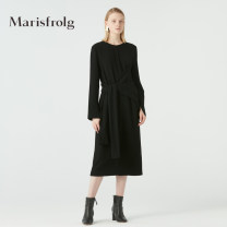 Dress Spring 2020 black 1/S/36 2/M/38 3/L/40 4/XL/42 longuette singleton  Long sleeves commute Crew neck middle-waisted Solid color zipper other routine Others 35-39 years old Type H Marisfrog / masfield Simplicity Lace up zipper A1JS12176 30% and below other polyester fiber