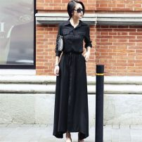 Dress Autumn 2020 Blue, black S,M,L,XL,2XL longuette singleton  Long sleeves commute square neck High waist Solid color Single breasted Big swing shirt sleeve 25-29 years old Type A Yajiao Korean version pocket 51% (inclusive) - 70% (inclusive) other